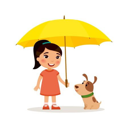 Puppy and cute little asian girl with yellow umbrella. Happy school or preschool kid and her pet playing together. Funny cartoon character. Vector illustration. Isolated on white background.