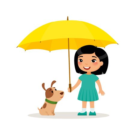 Puppy and cute little asian girl with yellow umbrella. Happy school or preschool kid and her pet playing together. Funny cartoon character.