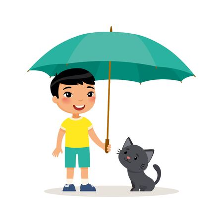 Black kitty and cute little asian boy with umbrella. Happy school or preschool kid and her pet playing together. Funny cartoon character. Vector illustration. Isolated on white background.