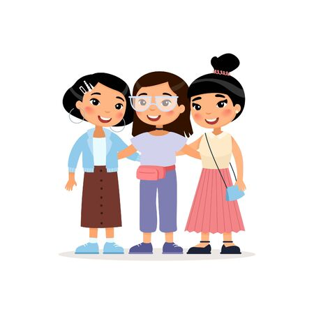 Friendship Day. Three cute Asian young girls hugging. Funny cartoon character. Vector illustration. Isolated on white background