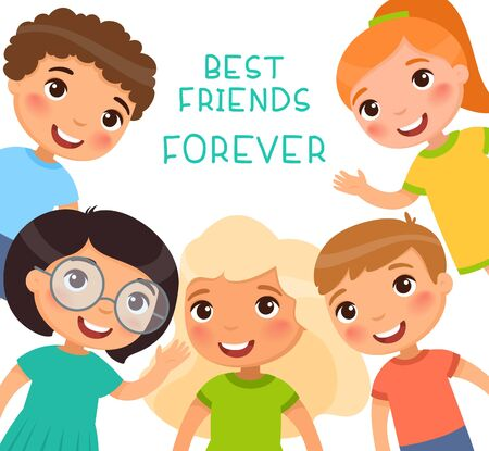Best Friends Forever. Five children in a frame are smiling and waving.Friendship Day or Childrens Day. Funny cartoon character. Vector illustration. Isolated on white background