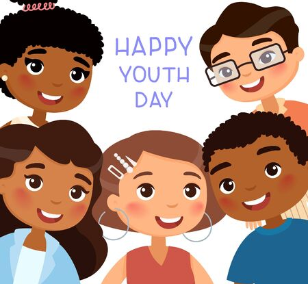 Happy Youth Day poster. International young girls and young boys friends. Funny cartoon character.  Vector illustration. Isolated on white background
