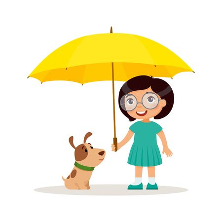 Puppy and cute little girl with yellow umbrella. Happy school or preschool kid and her pet playing together. Funny cartoon character. Vector illustration. Isolated on white background.