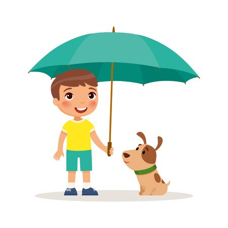 Puppy and cute little boy with yellow umbrella. Happy school or preschool kid and her pet playing together. Funny cartoon character. Vector illustration. Isolated on white background.
