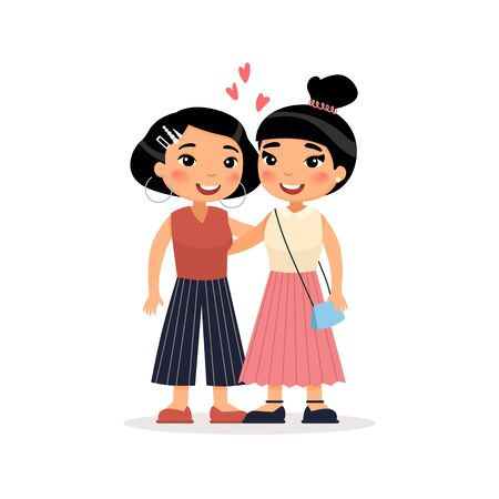 Two Asian young girls friends or lesbian couple hugging. Funny cartoon character. Vector illustration. Isolated on white background