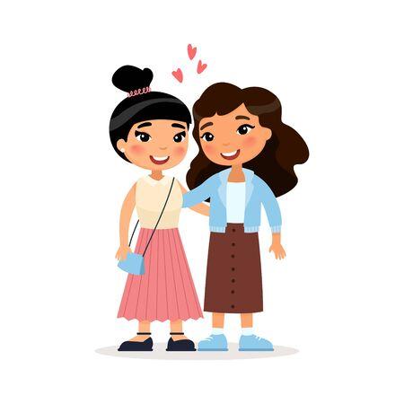 Twee Aziatische jonge meisjes vrienden of paar knuffelen. Grappig stripfiguur. Vector illustratie. Geïsoleerd op witte achtergrond Vector Illustratie