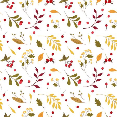 Autumn mood  flat vector seamless pattern.  Wind blown, floating yellow oak, maple leaves. Fall wildflowers and cranberry. Seasonal wild plants berries with lettering. Wallpaper, wrapping paper design