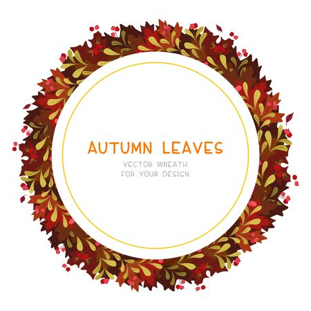 Autumn red leaves flat vector decorative round frame. Retro fall foliage with red guelder berries. Seasonal botanical wreath with copyspace. Tree twigs composition postcard, banner template  イラスト・ベクター素材