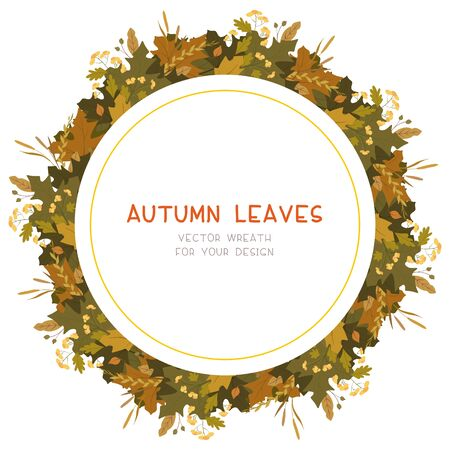 Autumn leaves flat vector decorative round frame. Retro fall foliage with red guelder berries. Seasonal botanical wreath with copyspace. Tree twigs composition postcard, banner template