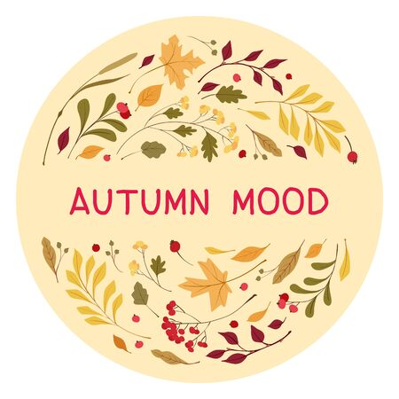Autumn mood flat vector greeting card template. Wind blown, floating yellow oak, maple leaves. Fall wildflowers and cranberry. Seasonal wild plants berries with lettering. Botanical poster