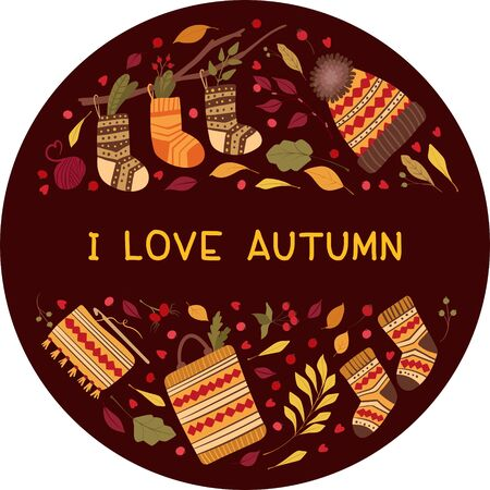 Loving autumn flat vector greeting card template.  Handmade knitwear, socks, hats hand drawn illustrations. Decorative autumn leaves, flowers, berries. Fall season postcard, banner design layout