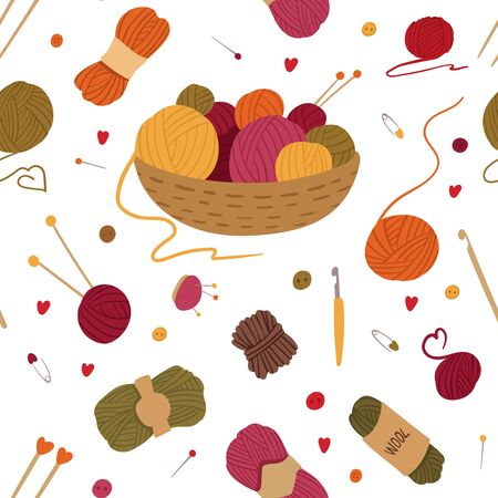 Knitting tools, accessories flat vector seamless pattern. Basket with yarn balls, skeins hand drawn illustration. Handcraft needles, crochets, pincushions. Wallpaper, wrapping paper design  イラスト・ベクター素材