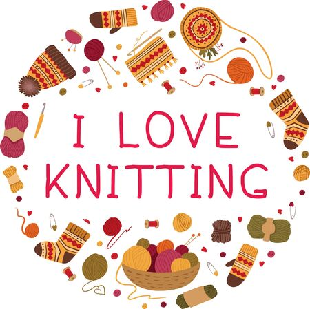 I love knitting flat vector greeting card template.Warm winter handmade woolen clothes, hats, scarves, socks hand drawn illustration.  イラスト・ベクター素材