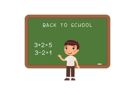 Schoolboy standing at blackboard flat vector illustration. Elementary school pupil solving mathematical exercise near chalkboard cartoon character. Addition and subtraction task on math lesson  イラスト・ベクター素材