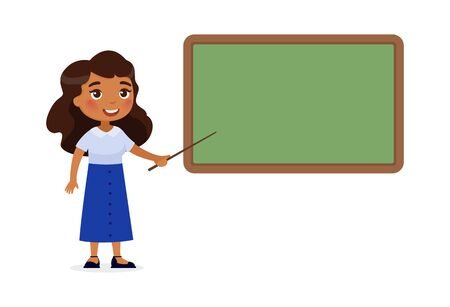 Indian female teacher standing near blackboard flat vector illustration. Smiling tutor pointing at blank chalkboard in classroom cartoon character. Educational process. School lesson, tutor explainin