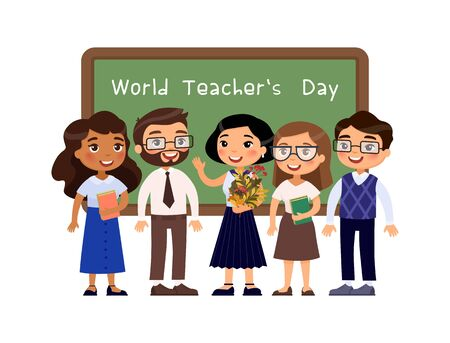 World teachers day greeting flat vector illustration. Teacher standing near blackboard in classroom character. Greeting on chalkboard. Pupils congratulate school staff with professional holiday