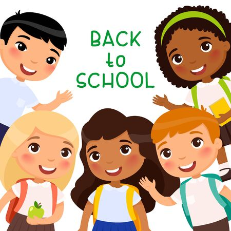 Back to school flat vector banner template. Cheerful pupils celebrating first of September. Happy schoolmates, friends with backpacks waving hands. Greeting card, postcard, poster design layout  イラスト・ベクター素材