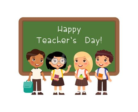 Happy teachers day greeting flat vector illustration. Smiling pupils standing near blackboard in classroom cartoon character. Schoolkids congratulate teachers. Educational holiday celebration