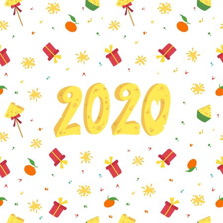2020 New Year holiday, fest vector seamless pattern. Decorative gifts, stars  on white background. New year banner with cheese numbers, winter season wallpaper, wrapping paper design  イラスト・ベクター素材
