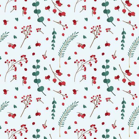 Christmas seamless pattern with winter  plants. Traditional winter season events botanic decor.  Green branches, red berries festival banner design element  イラスト・ベクター素材