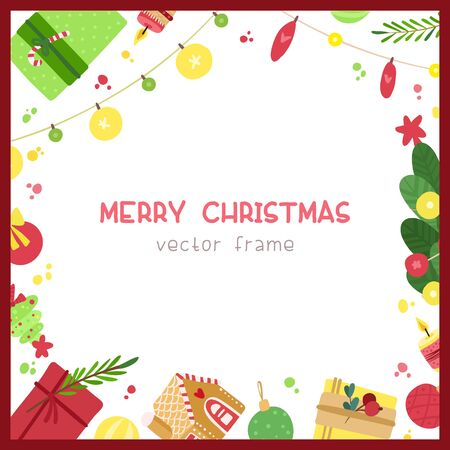 Christmas square frame with candles, garlands, gift boxes, presents, gingerbread house on white background. Holiday wishes lettering.  Christmas flat vector social media banner template.  イラスト・ベクター素材