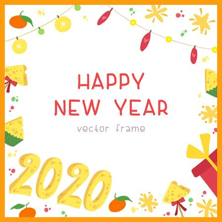 2020 New Year holiday square frame with decorative gifts, stars  on white background. Holiday wishes lettering. New year flat vector social media banner template with cheese numbers.
