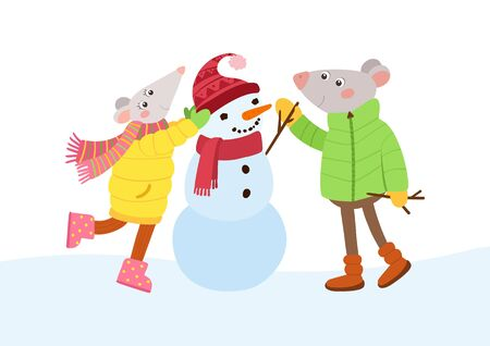 Mice couple making snowman flat vector illustration. Romantic rats  cartoon characters. Winter season games, fun.