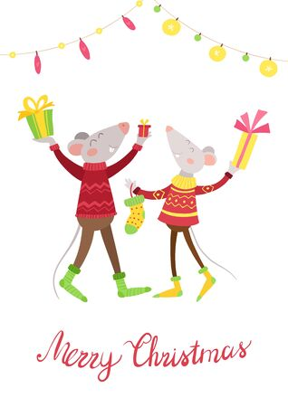 Mice couple  happy with presents flat vector illustration. Cheerful rats with gifts, Christmas stocking cartoon characters.