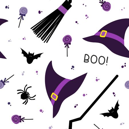 Halloween fest vector seamless pattern. Witch hat, broom, sweets,  spider, bat on white background. Halloween banner, october season wallpaper, wrapping paper design  イラスト・ベクター素材