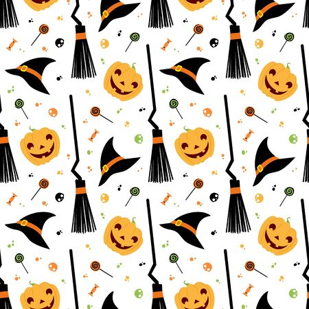 Halloween fest vector seamless pattern. Witch hat, broom, sweets,  pumpkin on white background. Halloween banner, october season wallpaper, wrapping paper design