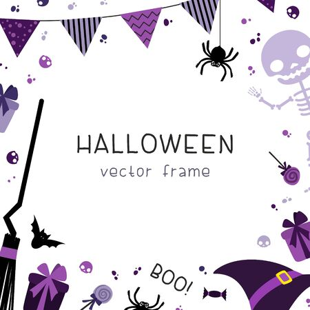 Halloween party decorations square frame with decorative with garlands, flags, gifts, hat, broom, skeleton and sweets on white background. Halloween flat vector social media banner template.  イラスト・ベクター素材