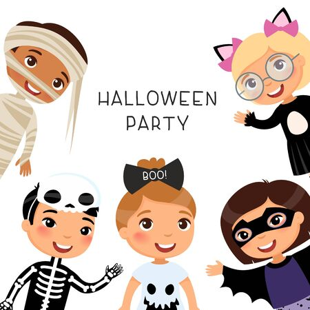 Halloween party flat vector banner template.   Children in spooky monsters costumes flat vector illustrations.  イラスト・ベクター素材
