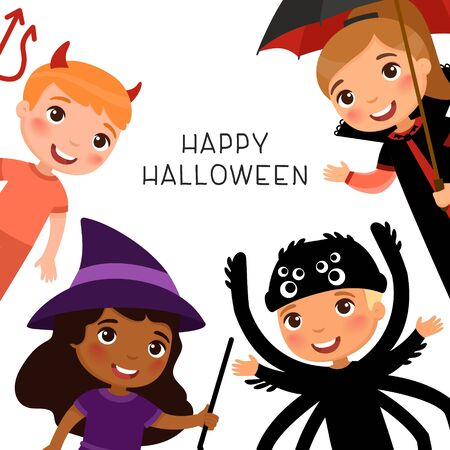 Halloween party flat vector banner template.   Children in spooky monsters costumes flat vector illustrations. Vampire, devil, witch and spider cartoon characters.