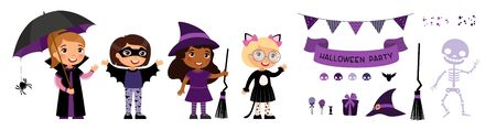Children in spooky monsters costumes flat vector illustrations set. Halloween party decorations pack. Trick or treat october holiday tradition. Broom, hat and skeleton cartoon stickers pack
