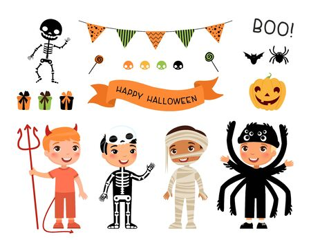 Boys in scary monsters costumes flat vector characters set. Children in devil, skeleton, mummy and spider outfits cartoon illustrations. Trick or treat tradition. Halloween party stickers pack  イラスト・ベクター素材