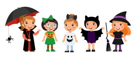 Children in spooky monsters costumes flat vector illustrations set. Halloween party decorations pack.