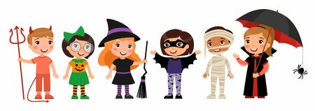 Boys and girls in scary monsters costumes flat vector characters set. Children in devil, pumpkin, witch, bat,  mummy and vampire outfits cartoon illustrations. Trick or treat tradition. Halloween part