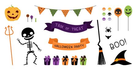 Halloween party decorations pack.  Lettering ribbons, skeleton, broom and witch hat, pumpkin, sweets, spider, bat and trident. Flat vector illustrations set.