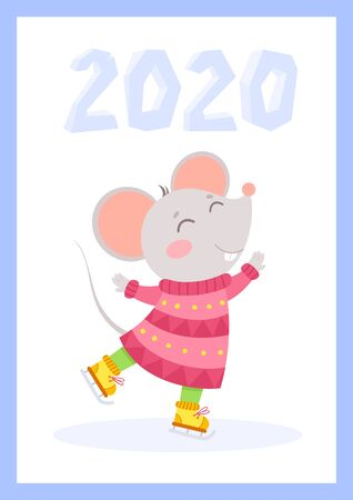 New Year 2020 cute mouse flat vector greeting card template. Little rat wearing knitted clothes and ice numbers cartoon illustration. Rodent ice skating winter poster, postcard design