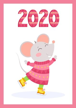 New Year 2020 cute mouse flat vector greeting card template. Little rat wearing knitted clothes and knitted numbers cartoon illustration. Rodent ice skating winter poster, postcard design