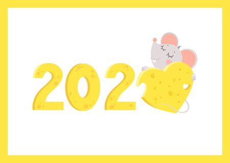 New Year 2020 flat vector greeting card with mouse template. Little rat hugging cheese heart and numbers cartoon illustration. Chinese calendar zodiac sign. Rodent poster, postcard design