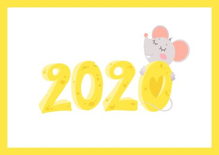 New Year 2020 flat vector greeting card with mouse template. Little rat hugging cheese numbers cartoon illustration. Chinese calendar zodiac sign. Rodent poster, postcard design