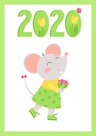 New Year 2020 flat vector poster with mouse template. Little rat holding flowers bouquet character. Numbers with tulips cartoon illustration. Spring holiday  postcard, greeting card design