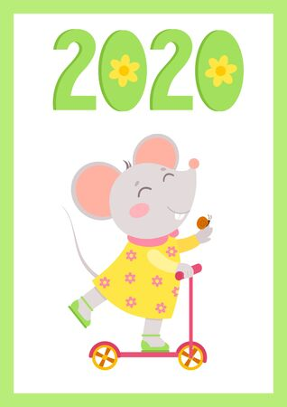 New Year 2020 flat vector poster with mouse template. Little mouse rides a scooter with snail on hand. Numbers with flowers cartoon illustration. Spring holiday  postcard, greeting card design