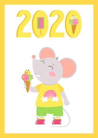 New Year 2020 flat vector poster with mouse template. Little mouse with ice cream in a hand. Numbers with ice cream cartoon illustration. Summer  holiday  postcard, greeting card design