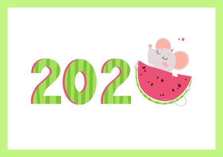 2020 year flat vector banner with mouse template. Little rat hugging watermelon numbers cartoon illustration. Summertime season poster. Rodent children greeting card, postcard design
