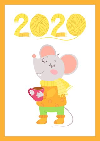 New Year 2020 flat vector autumn poster with mouse template. Little rat in warm clothes drinking tea character. Knitted numbers cartoon illustration. Fall season greeting card, postcard design