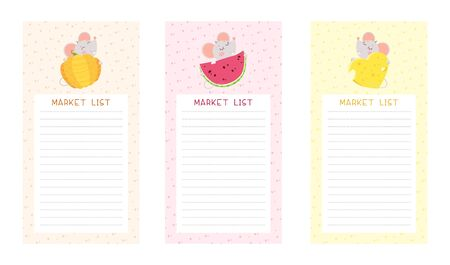 Market lists flat vector templates set. Cute mice holding pumpkin, watermelon and cheese cartoon characters. Notepad checklist layout Ilustração