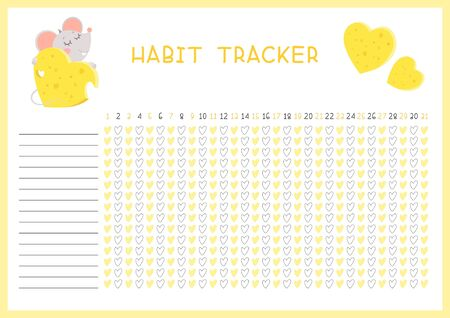 Habit tracker for month flat vector template.  Little rat hugging cheese heart. Children planner page with cute mouse layout.  Daily achievements planning. Kids assignments blank timetable design  Ilustração