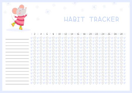 Habit tracker for month flat vector template. Children planner page with cute mouse layout. Winter holidays, daily achievements planning. Kids assignments blank timetable design